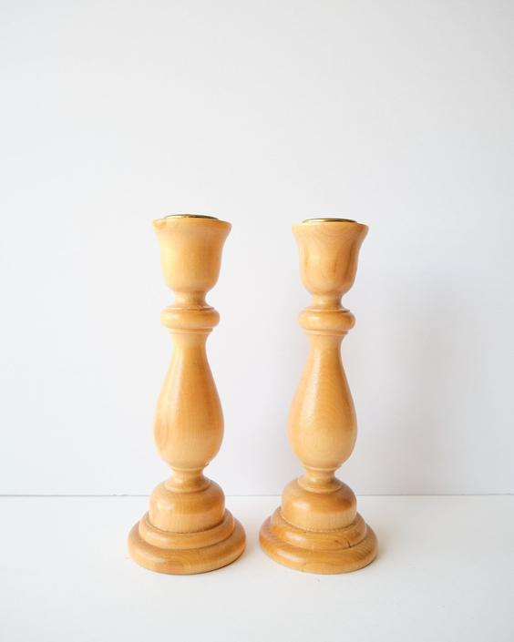 Set of Two Wooden Taper Candlestick Holders by ShopLantanaLane