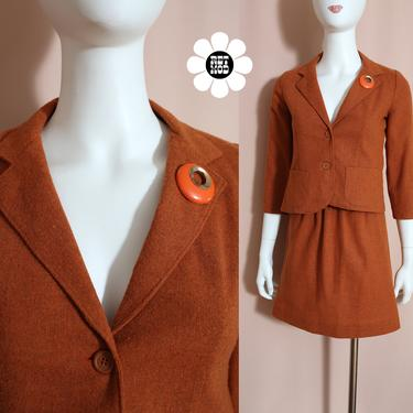 Adorable Vintage 60s Butterscotch Burnt Sienna Colored Tweed Two-Piece Wool Skirt Set by RETMOD