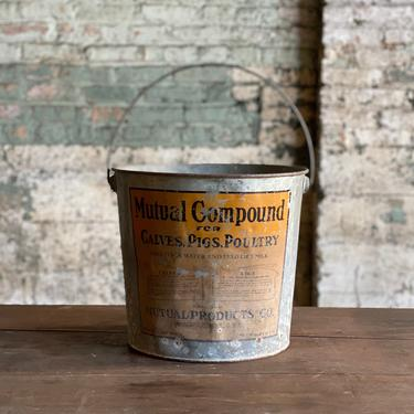 Vintage Mutual Compound Cattle Pigs Poultry Supplement Galvanized Bucket by NorthGroveAntiques