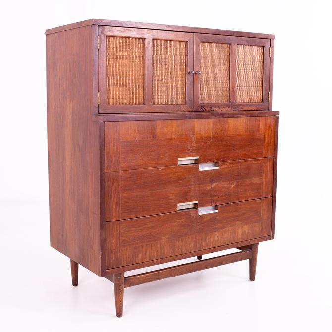 Merton Gershun for American of Martinsville Mid Century X Inlay Walnut 9 Drawer Dresser - mcm by ModernHill