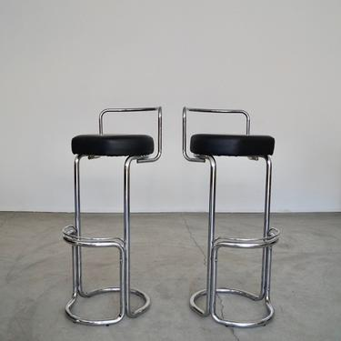 Pair of Mid-century Modern Italian Bar Stools by Bonaldo Casa in Chrome - Made in Italy! by CyclicFurniture