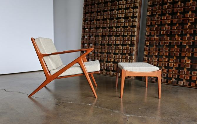 """Poul Jensen """" Z """" Lounge Chair and Ottoman for Selig of Denmark"""