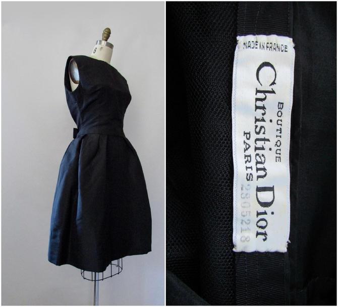 CHRISTIAN DIOR Vintage 50s Numbered Little Black Dress   1950s 60s 1960s Yves Saint Laurent YSL Designer Era, Paris France   Size Small by lovestreetsf