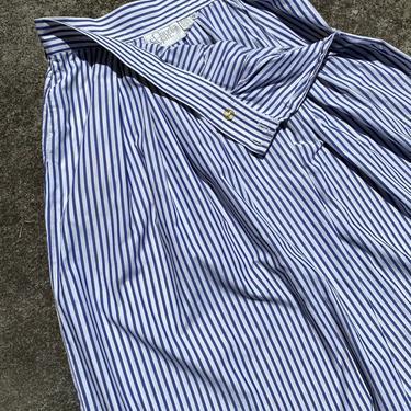 "80's 90's cotton skirt~ pinstripe~ high waisted pleated Peasant skirt ~ preppy boho~ size 32"" waist by HattiesVintagePDX"