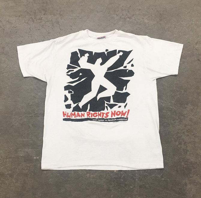 Vintage Human Rights Now Tee Retro 1980s Size OSFA + Reebok + Athletic + White T-Shirt + Red + Black Print + Unisex Graphic T and Clothing by RetrospectVintage215
