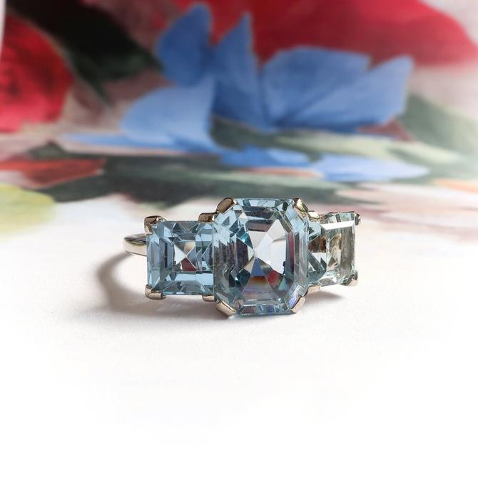 Estate 10.57ct. tw. Synthetic Blue Spinel Three Stone Cocktail Ring 18K White Gold by YourJewelryFinder