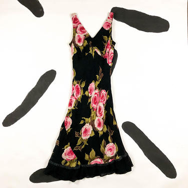 90s Black and Pink Floral Midi Slip Dress / Lace / Asymmetrical Hem / Roses / Rose Print / y2k / Grunge / 90210 / y2k / satc / L / M / Bias by badatpettingcats