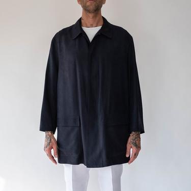 Vintage 90s Donna Karan Gold Label Washed Black Silk Mac Jacket   100% Silk   MOD, Minimalist, SKA, Tailored   1990s DKNY Mens Silk Overcoat by TheVault1969