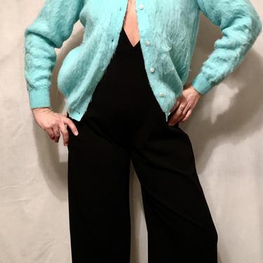 1950s Bright Turquoise Blue Mohair Italian Sweater Cardigan    Di Benedetto, Napoli, Italia    Pearl Buttons    Size L/XL by CelosaVintage