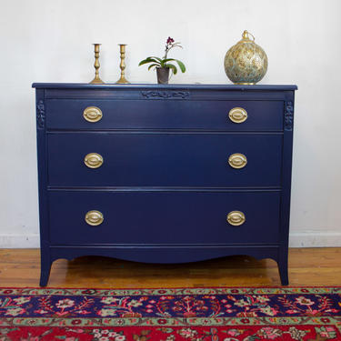Vintage Navy Blue Federal Dresser, Navy Blue and Gold Dresser / Changing Table, Hand Painted Dresser, Free NYC Delivery by AntiqueBoutiqueNYC