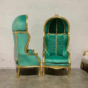 French Balloon Chair Throne Chair *2 Available* Green Velvet Canopy Chair Gold Chair Tufted French Interior Design by SittinPrettyByMyleen