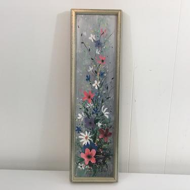 Vintage Framed Floral Original Painting Art 1968 Flowers Gray Pink White 1960s Silver Frame Painted by Cathy Amateur Artist Painter by CheckEngineVintage