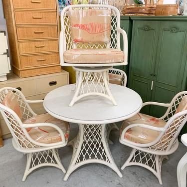 Ficks Reed Rattan Table and Swivel Chairs