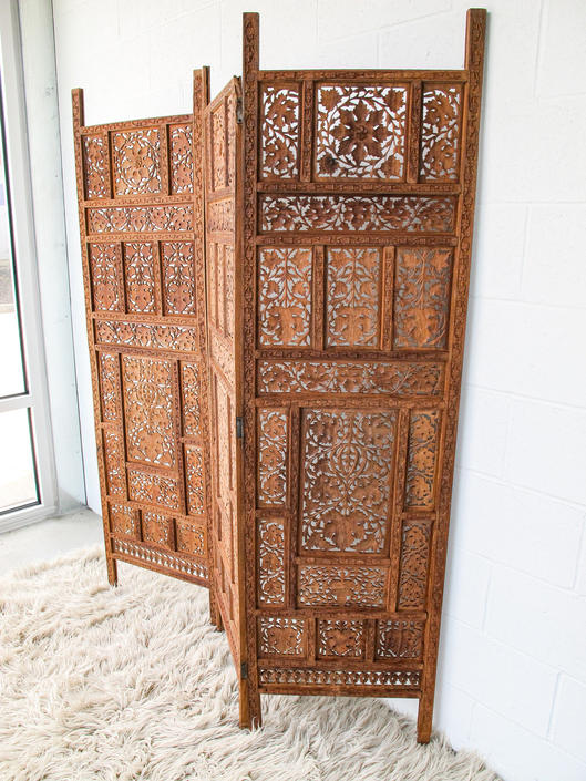 2 Available and Sold Separately - Vintage/Antique Hand Crafted Solid Wood Moroccan Bohemian Style Hand Carved Lattice Screens- Made in India by PortlandRevibe