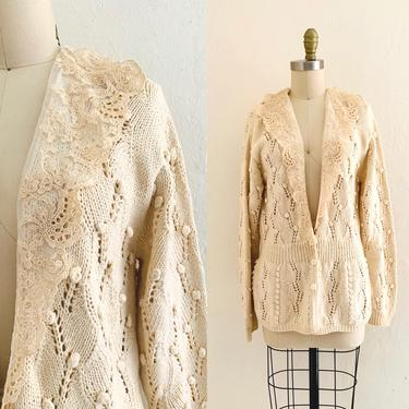 vintage 60's hand knit lace cardigan // fall beige sweater by HarlowsVintage