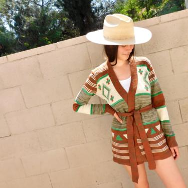 Echo Park Cardigan Sweater // vintage 70s knit hippie dress blouse hippy 1970s tunic space dye brown white striped // S/M by FenixVintage