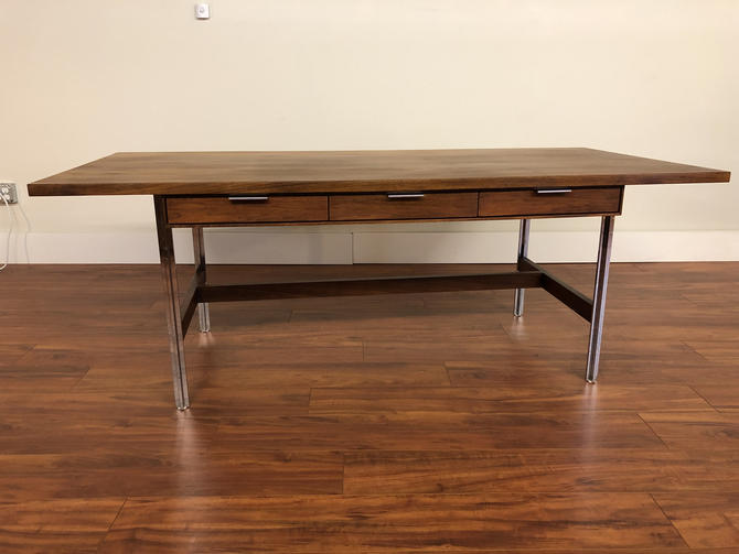 John Stuart Mid Century Large Walnut and Chrome Executive Desk by Vintagefurnitureetc