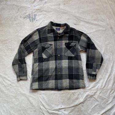 Vintage 60s Thrashed Pendleton Wool Plaid Flannel Shirt by NorthGroveAntiques