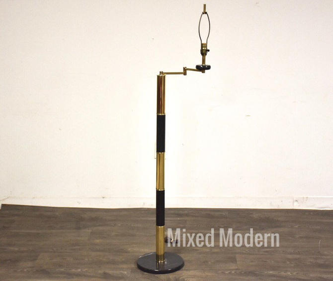 Brass & Marble Vintage Floor Lamp by mixedmodern1