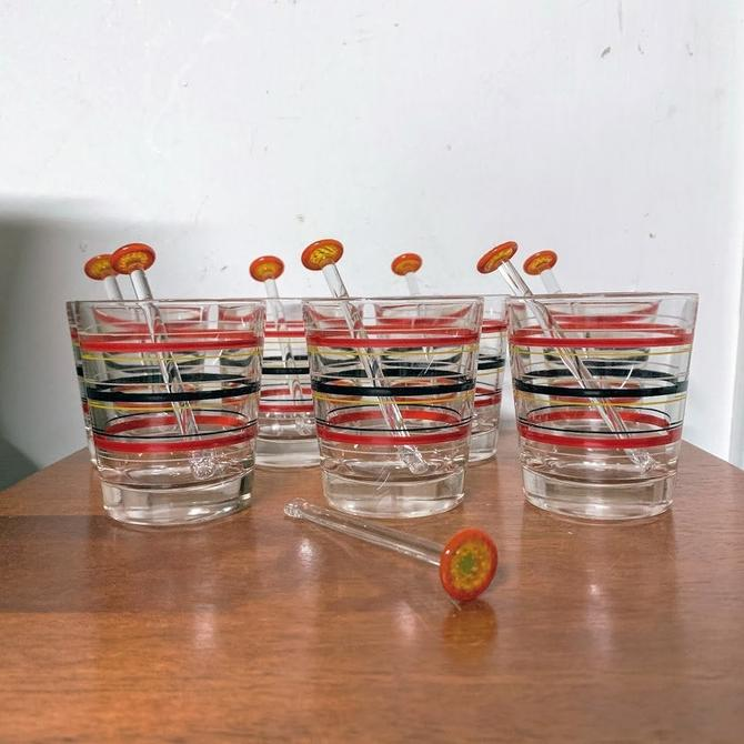 Vintage Mid Century Modern Striped Bar Glasses with Glass Swizzle Sticks by OverTheYearsFinds