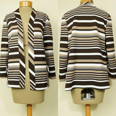 Vintage 70's Brown Striped Cardigan Blazer - M/L by YouthquakerVintage