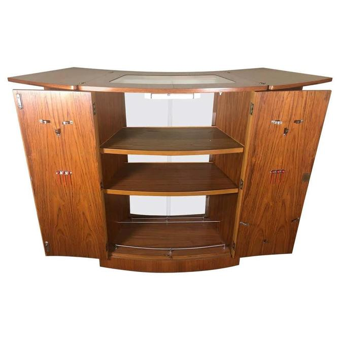 Mid Century Teak Flip Top Home Cocktail Bar Space Saving By Turnidge Of London by RetroPassion21