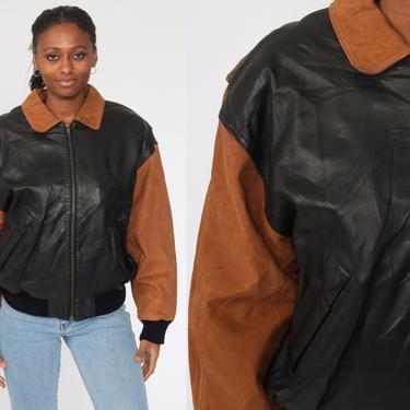 Leather Bomber Jacket Black + Brown Leather Biker 80s Moto Coat Motorcycle Cafe Racer Jacket Flight 1980s Vintage Retro Men's Large by ShopExile