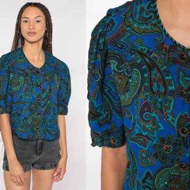 Paisley Shirt 80s Puff Sleeve Blouse Button Up Shirt Blue Short Sleeve Top Boho 1980s Shirt Vintage Secretary Medium by ShopExile