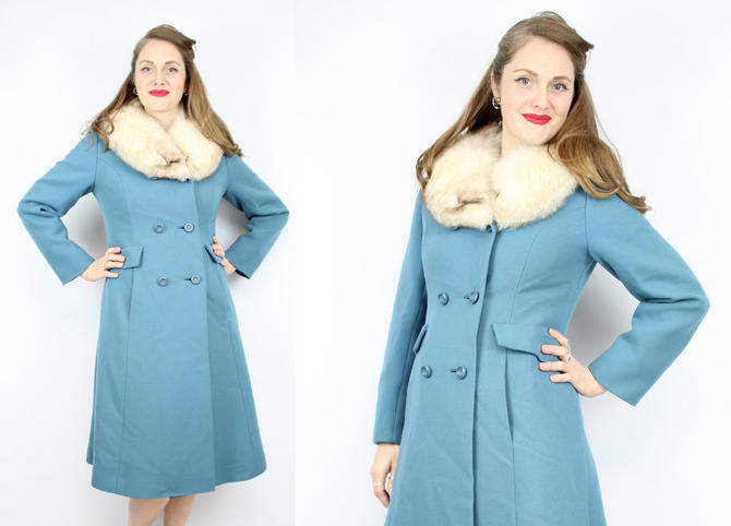 fashionable and attractive package find workmanship look good shoes sale Vintage 60's 70's Periwinkle Blue Coat with Fox Fur ...