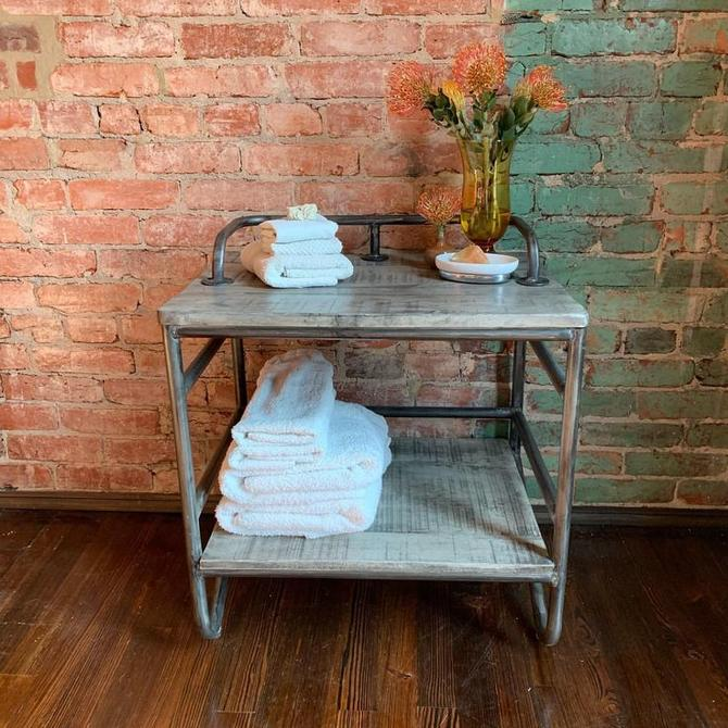 Repurposed wood and metal open cabinet / small book shelf / industrial bedside table