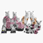 Five Pairs Of English Staffordshire\/ Lustre Cats