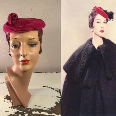 Fifth Avenue Shopping - Vintage 1950s Fuchsia Hot Pink Velvet Caplet Hat w/Velvet Rose by RoadsLessTravelled2