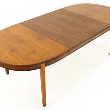 Kipp Stewart for Calvin Directional Mid Century Walnut Oval Dining Table with 2 Leaves - mcm by ModernHill