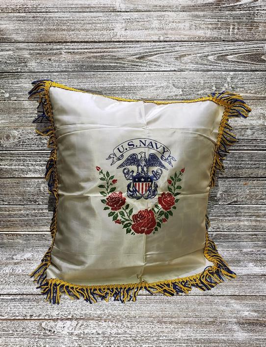Vintage US Navy Souvenir Pillow Cover, Armed Forces Pillow Sham, Vintage White Satin & Fringe Pillow Case, 1950's Home Decor, Vintage Linens by AGoGoVintage