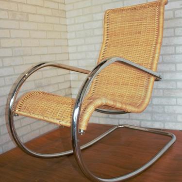 Mid Century Modern Rattan and Tubular Chrome Italian Rocker Rocking Chair