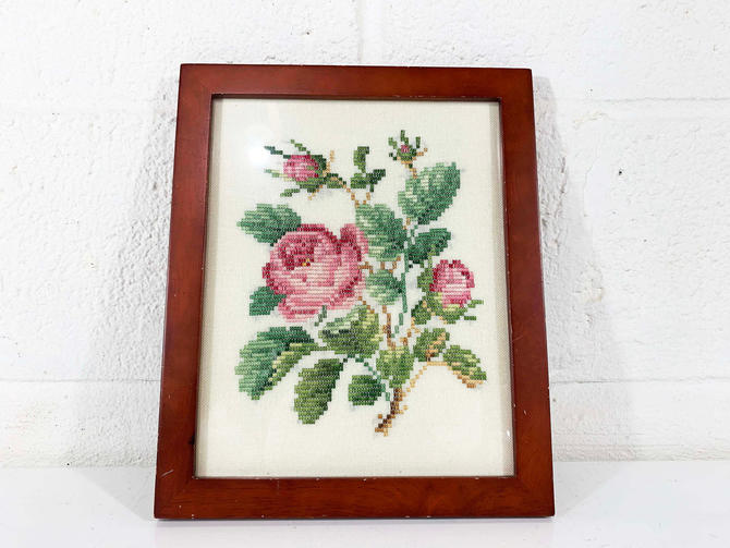True Vintage Rose Embroidery Needlepoint Floral Framed 1970s Kitsch Retro Decor Wall Hanging Kitschy Pink Flowers Flower Handmade Framed by CheckEngineVintage