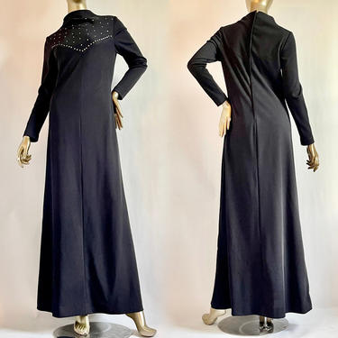 Black Maxi Dress Long Sleeves 1960's with Rhinestones by BeggarsBanquet