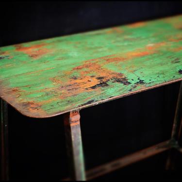 Shop Built Steel Side Table w/ Mellow Green Paint c.1950