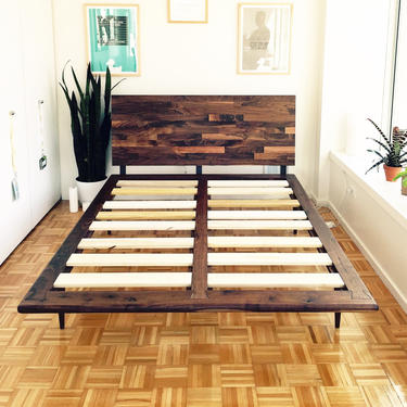 Mid Century Solid Walnut Platform Bed queen size bed king size bed midcentury bed by jeremiahcollection