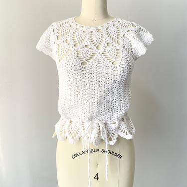 1970s Crochet Blouse Semi Sheer Cotton Top S by dejavintageboutique