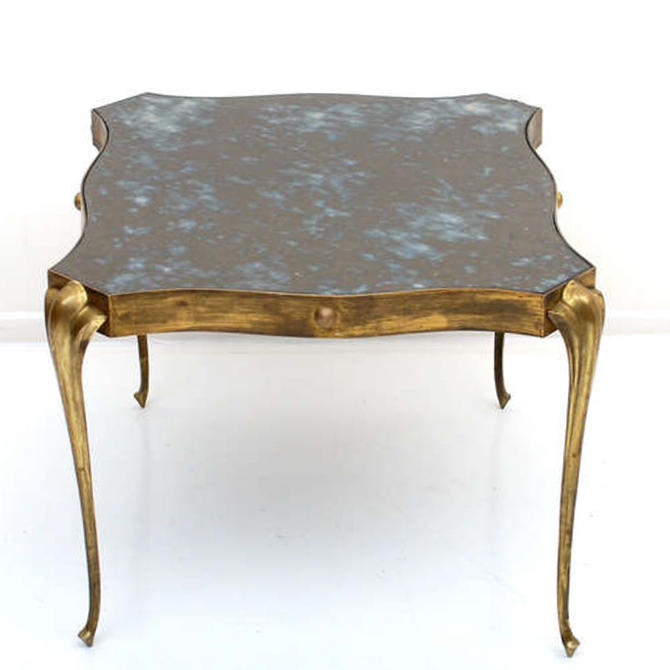Style Arturo Pani Elegant Eglomise Side Table in Brass Modern Regency Mexico 1950s by AMBIANIC