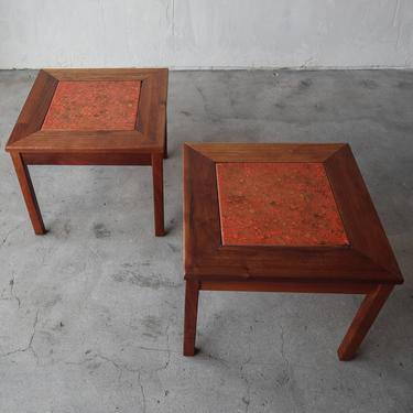Pair of Mid Century Enameled Copper and Walnut Side Tables by AgedModern