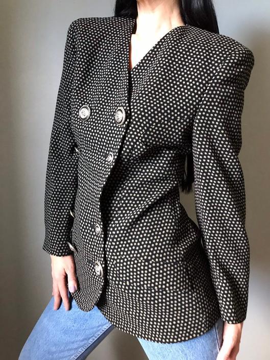 vintage 90s VERSUS Gianni Versace blazer | polka dot print jacket | double breasted silver logo buttons by LosGitanosVintage