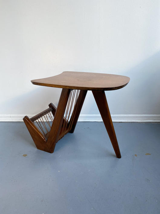 Atomic-Style Walnut Side Table with Chord Magazine Rack by TheModernistUS