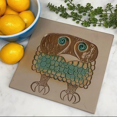 Vintage Trivet Retro 1970s Bennington Pottery + Grumpy Owl 1536 + Ceramic + Square + Kitchen and Table Decor + Hand Painted Tile + Wall Art by RetrospectVintage215