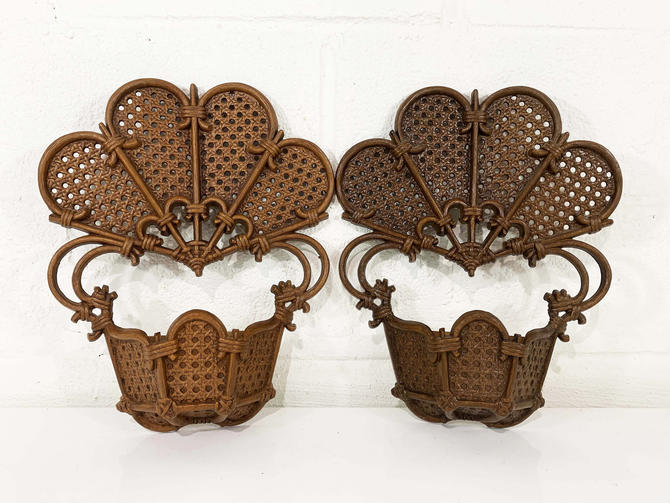True Vintage Burwood Large Planters Home Interiors HOMCO Brown Molded Resin Decor Pair Set Two Wall Decor 1970s 70s 1971 Boho Nursery USA by CheckEngineVintage