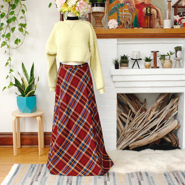 Vintage 1970s Plaid Maxi Skirt - Red & Yellow Tartan High-Waisted Long Skirt - M by SecondShiftVintage