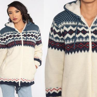 Hooded Nordic Sweater 80s Cream Fleece Sherpa Lined Zip Up Hoodie Cardigan Boho HOOD Shearling 1980s Knit Bohemian Vintage Retro Medium by ShopExile