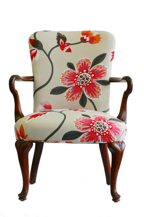 Upholstered Floral Armchair by WildChairy