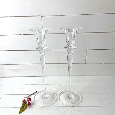 Vintage Alante Crystal Candle Holders For Tapers, Long Stem Candlestick Holders, Perfect For Date Night, Midcentury Crystal Taper Holder by CuriouslyCuratedShop